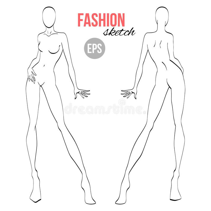 Vector outline girl model template for fashion sketching. Template for designers of clothes and stylist stock illustration