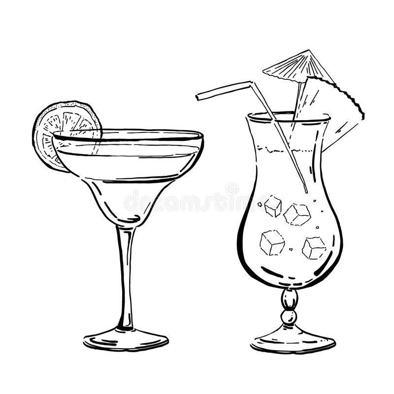 Vector outline hand drawn margarita and blue curacao coctails for posters and cards. Outline hand drawn margarita and blue curacao coctails for posters and cards stock illustration