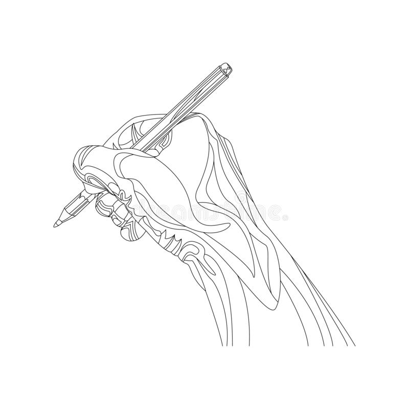 Vector outline hand with pen. Writing tools. vector illustration
