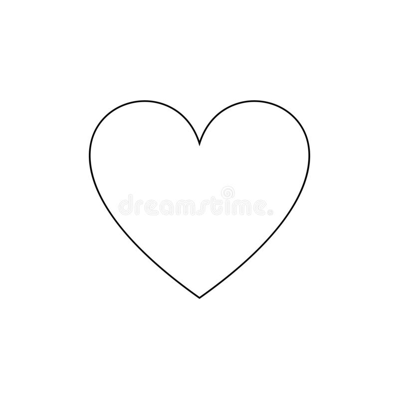 Vector Outline Heart Icon, Simple Love Symbol, Black Line Isolated. royalty free illustration