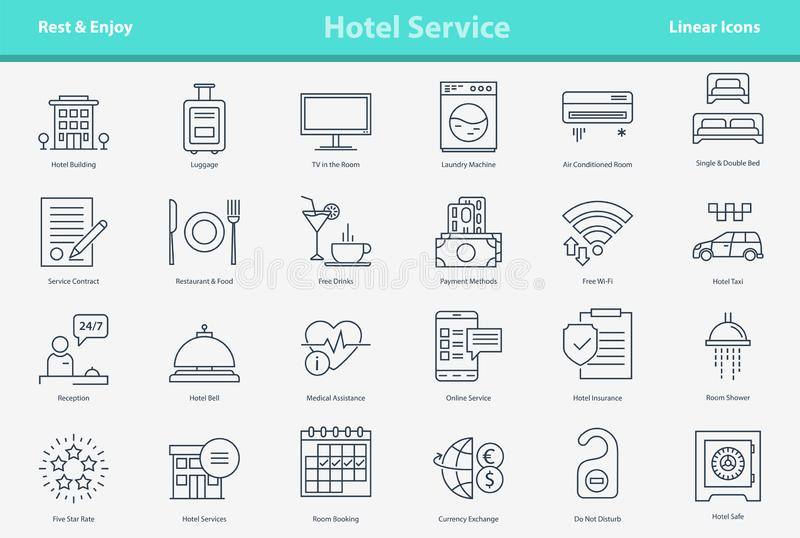 Vector outline icon set - hotel service stock illustration