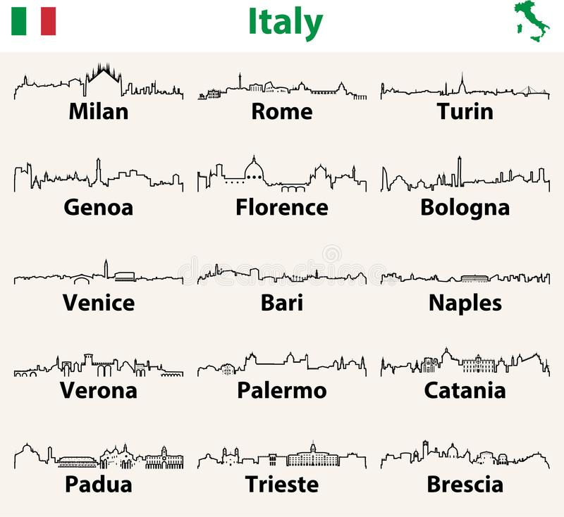 Vector outline icons of Italy cities skylines. Vector outlines icons of Italy cities skylines stock illustration