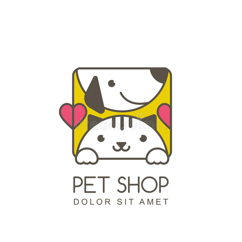 Vector outline illustration of cute muzzle of cat and smiling do. G. Logo icon design template. Square shape label. Trendy concept for pet shop or veterinary vector illustration