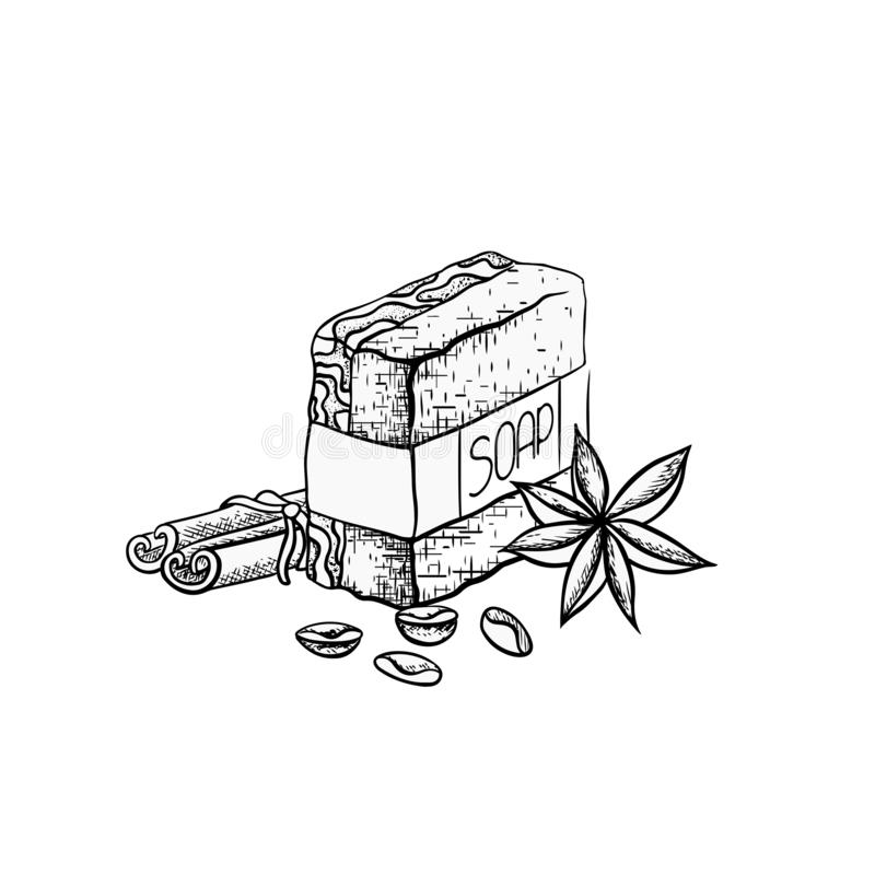 Vector outline illustration of handmade soap with cinnamon sticks, coffee grains and star anise. Hand drawn drawing royalty free illustration