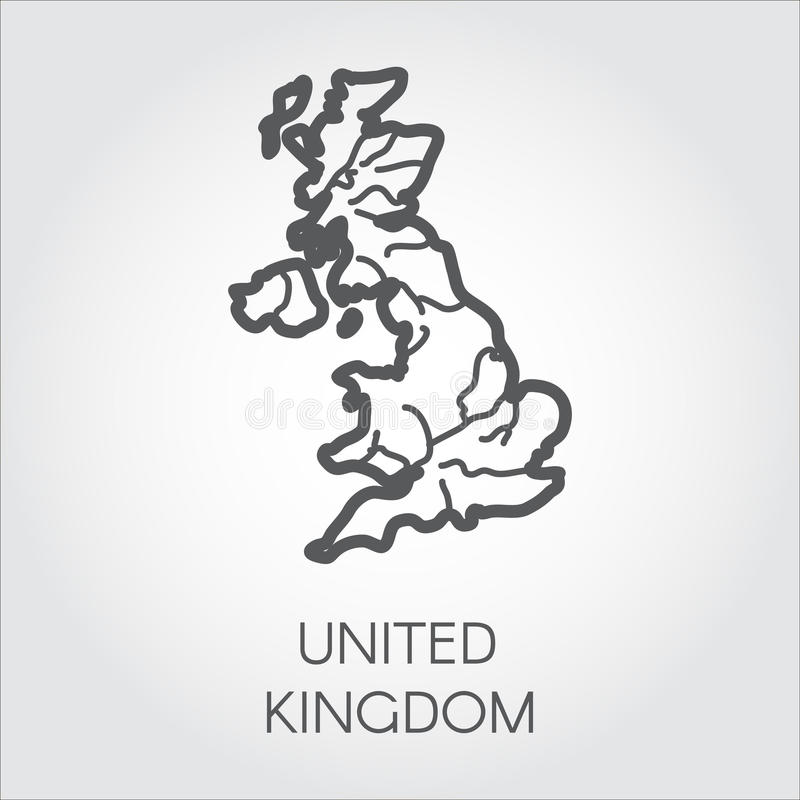 Vector outline map of United Kingdom. Great Britain linear shape icon. Cartography symbol of country vector illustration