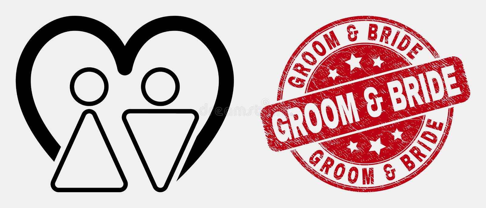 Vector Outline Married Persons Icon and Grunge Groom and Bride Stamp. Vector stroke married persons icon and Groom and Bride stamp. Blue rounded grunge stamp royalty free illustration