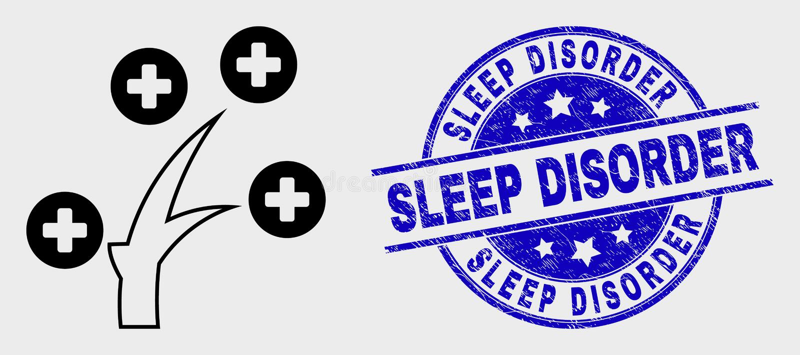 Vector Line Medical Tree Icon and Grunge Sleep Disorder Stamp Seal. Vector outline medical tree icon and Sleep Disorder watermark. Blue rounded textured royalty free illustration