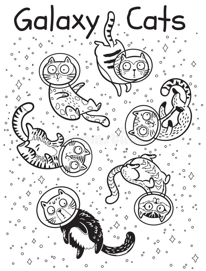 Vector Outline Print With Cats In Space. Coloring Book Page Stock ...