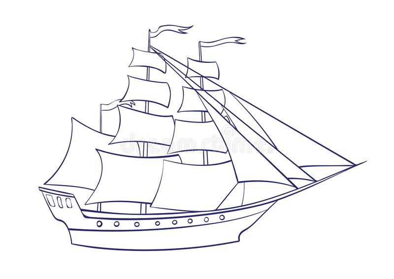 Vector outline sailing ship. Graphic cartoon illustration, frigate image isolated on white background for coloring book. Vector outline sailing ship. Graphic vector illustration