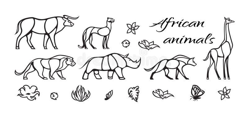 Vector outline set of african animals with lion, buffalo, hyena, giraffe, rhinoceros, cheetah. Black and white illustration royalty free illustration
