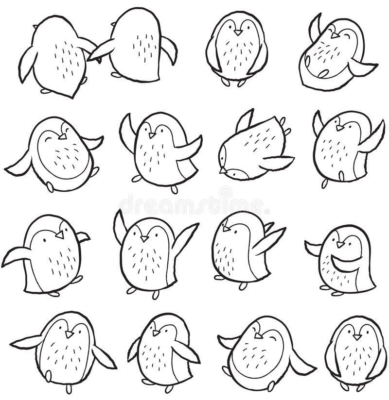 Vector outline set with arctic penguins. Hand drawn outline set of arctic penguins. Cute characters in cartoon style. Vector set. Coloring book page vector illustration