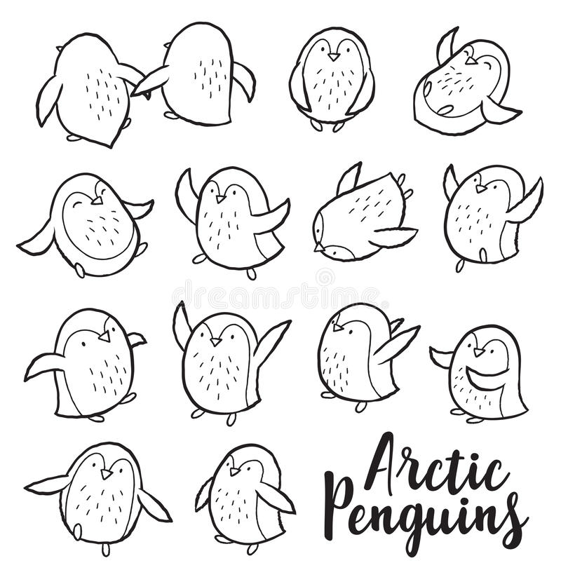 Vector outline set with arctic penguins. Hand drawn outline set of arctic penguins. Cute characters in cartoon style. Vector set. Coloring book page stock illustration