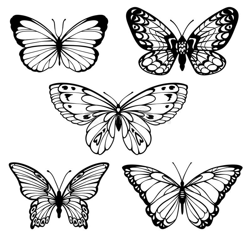 Butterflies Logo Set. Vector Line And Silhouette Butterfly Stock ...