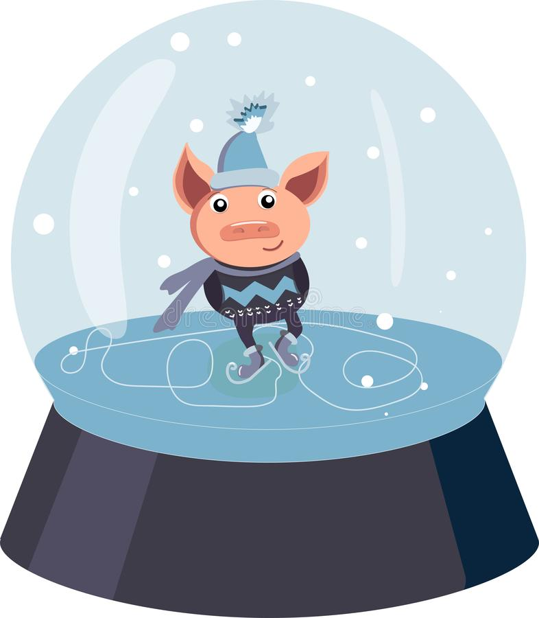Vector outline snow globe or snowball with falling snowflakes and cute pig in black isolated on white background. Symbol of royalty free illustration