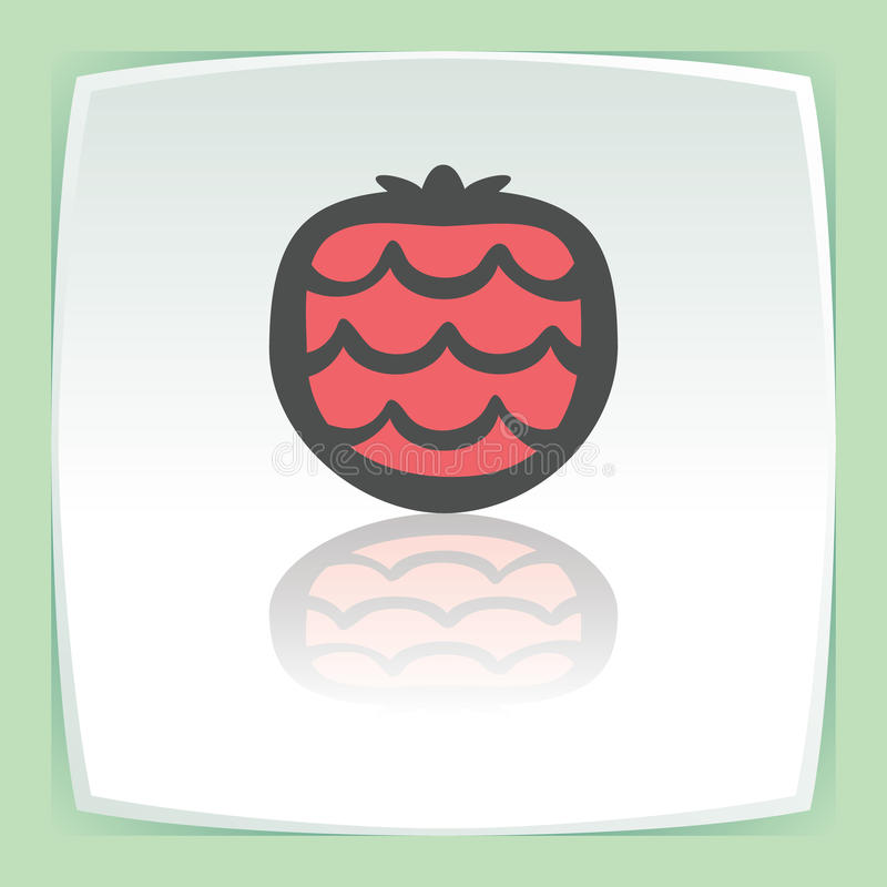 Vector outline strawberry fruit icon. Modern infographic logo and pictogram. Vector outline strawberry fruit food icon on white flat square plate. Elements for royalty free illustration