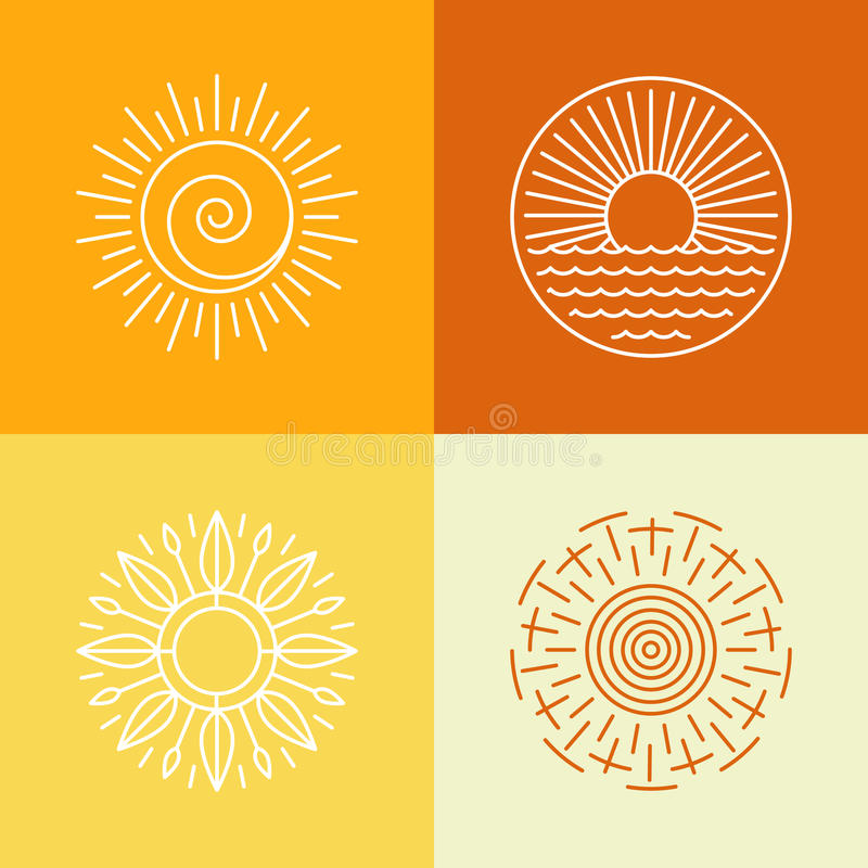 Vector outline sun icons and logo design elements vector illustration