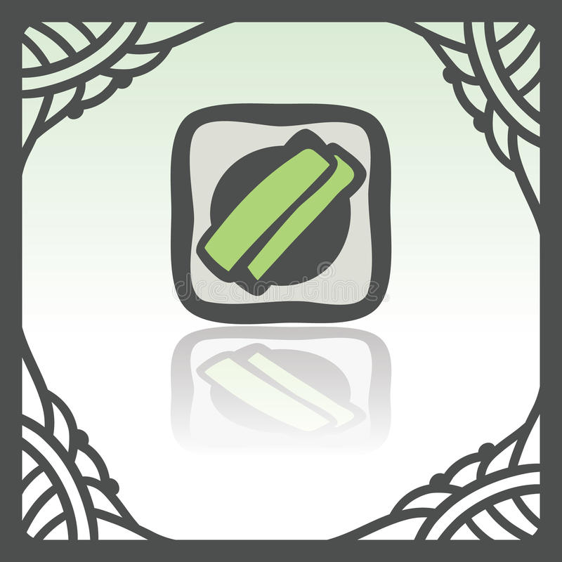 Vector outline sushi rice roll with green grass japan food icon. Modern. Vector outline sushi rice roll with green grass and wasabi japan food icon in hand royalty free illustration