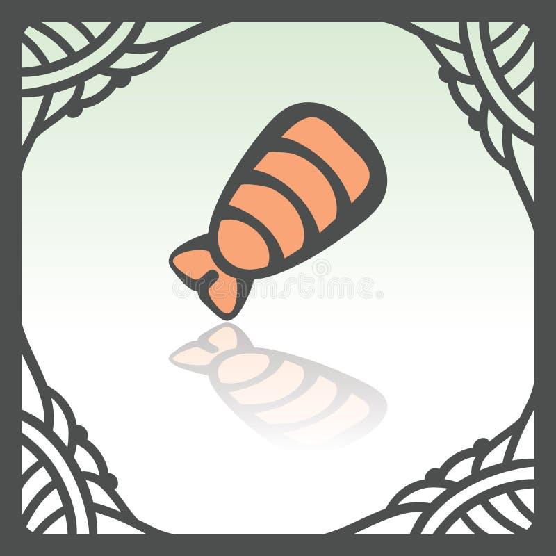 Vector outline sushi shrimp japan food icon. Modern logo and pictogram. Vector outline sushi shrimp japan food icon in hand drawn frame. Elements for mobile stock illustration