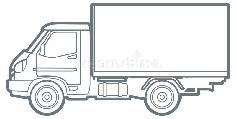 Vector Outline Truck Stock Vector. Illustration Of Truck