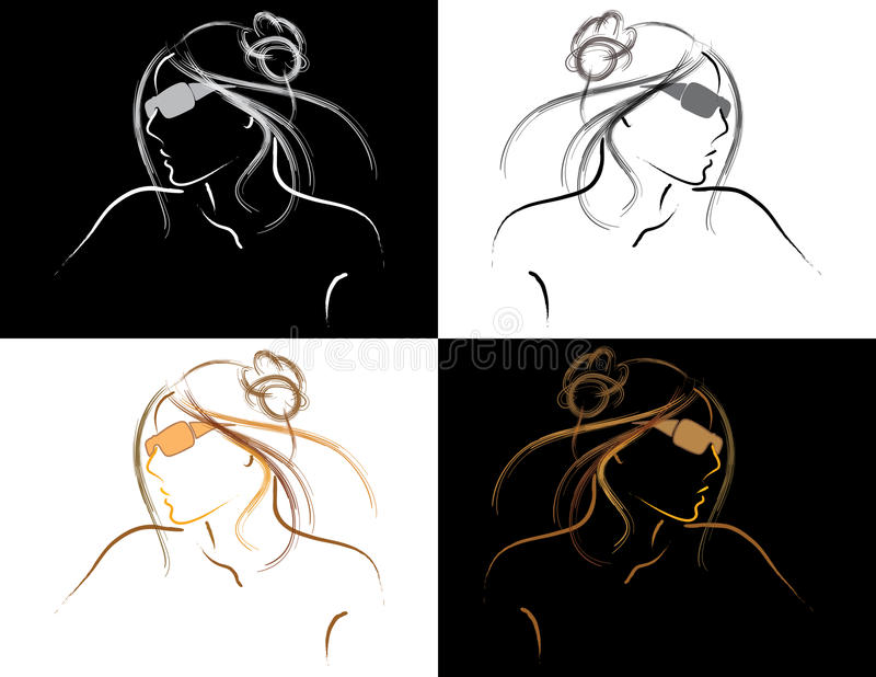 Vector Outline of woman in sunglasses stock images