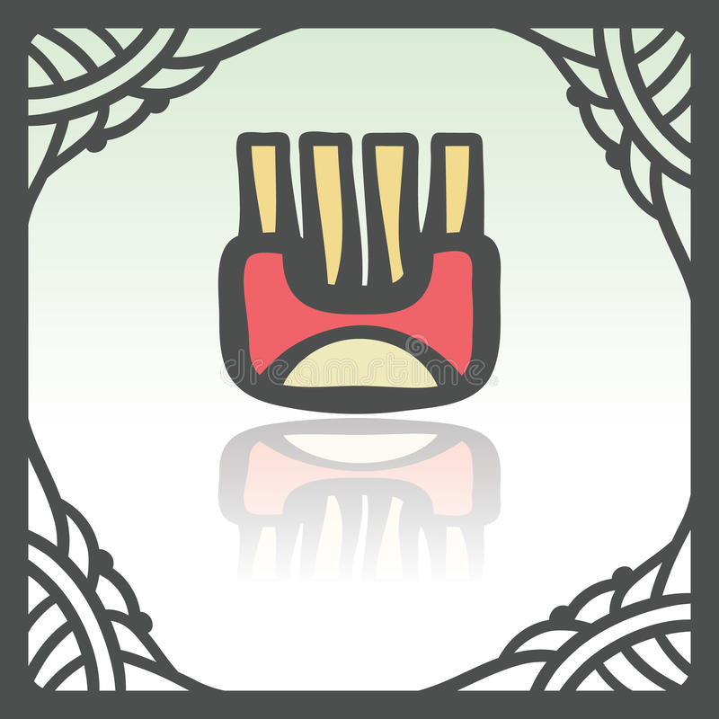 Vector outline wrap with fried potato sticks icon. Modern logo and pictogram. royalty free illustration