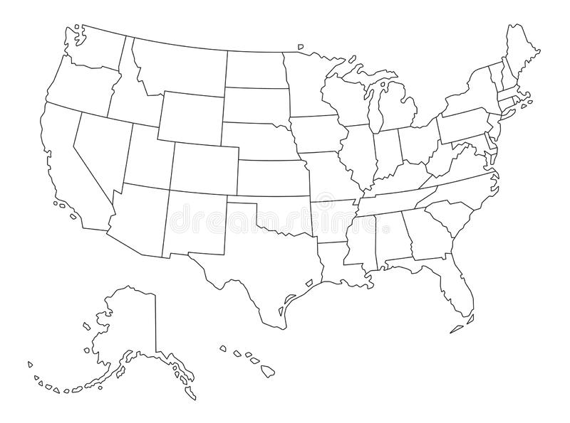 Vector Outlined Map Of The Usa Stock Vector Illustration Of