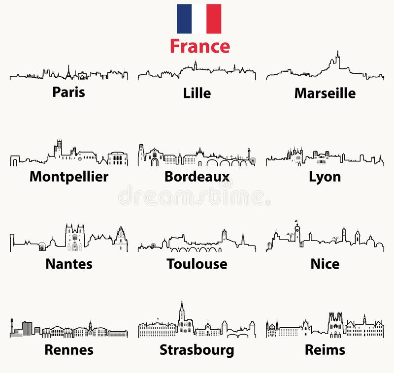 Vector outline icons of France cities skylines royalty free illustration