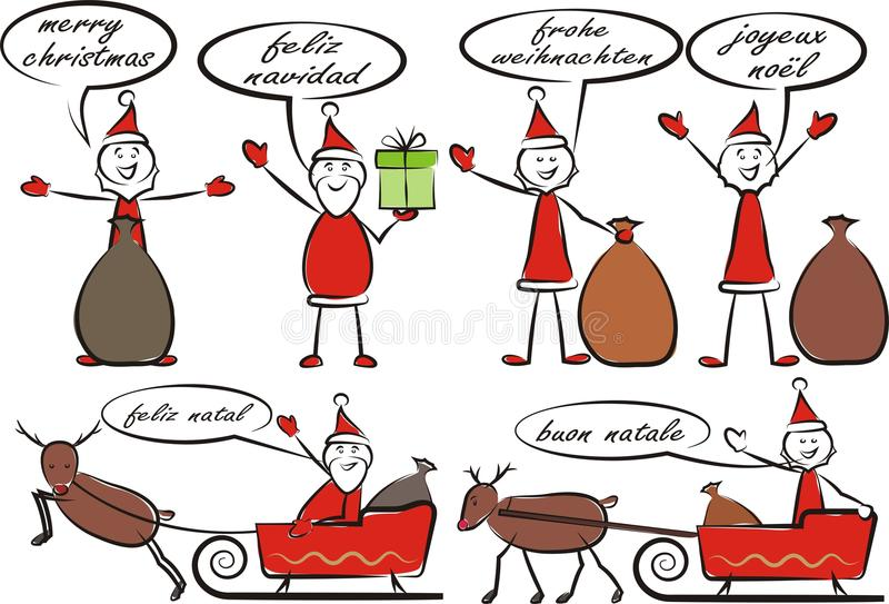 Santa In The Box Merry Christmas Stock Vector