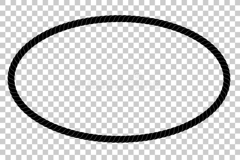 Oval Frame From Black Rope For Your Element Design At Transparent ...
