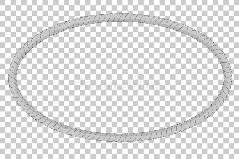 Oval frame from gray rope for your element design, at transparent effect background vector illustration