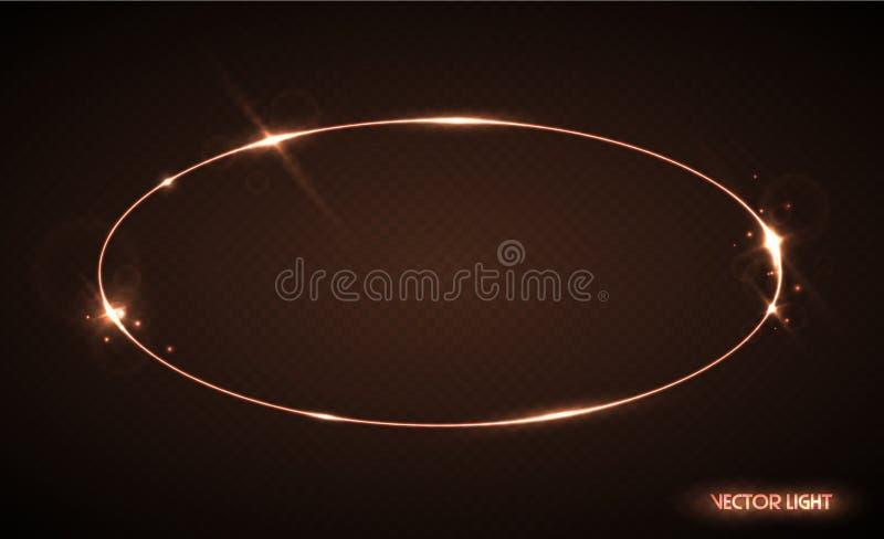 Vector oval frame with sparks and spotlight. Shining ellipse banner. Vector illustration isolated on black transparent background. Translucent light effect stock illustration