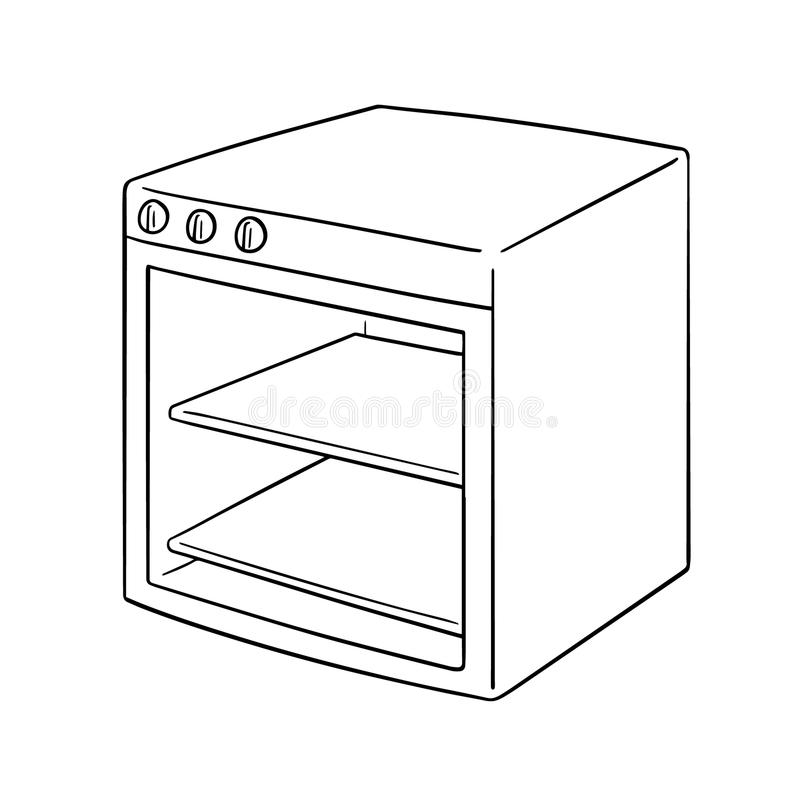 Vector of oven. Hand drawn cartoon, doodle illustration stock illustration