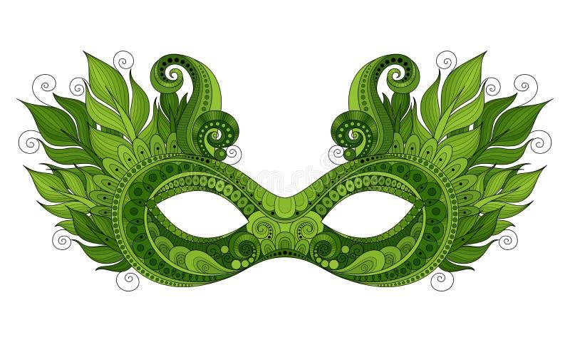 Vector Overladen Gekleurd Mardi Gras Carnival Mask met Decoratieve Veren stock illustratie