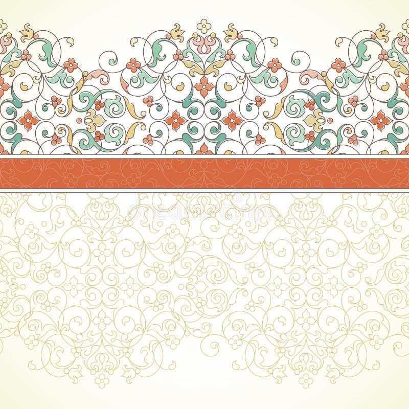 Vector overladen naadloze grens in Oostelijke stijl vector illustratie