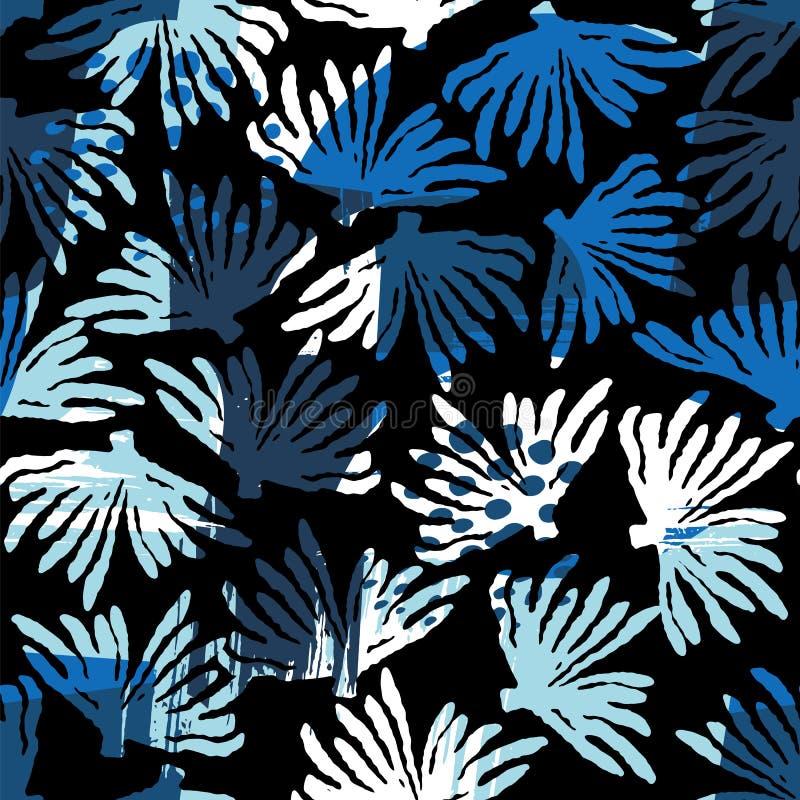 Vector overzees naadloos patroon met hand getrokken texturen stock illustratie