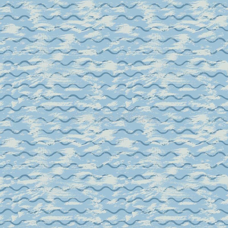 Vector overzeese achtergrond met blauwe golven en borstelslagen van verf royalty-vrije illustratie