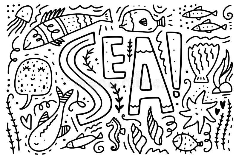 Vector overzeese het levensinzameling Reeks verschillende mariene karakters vector illustratie