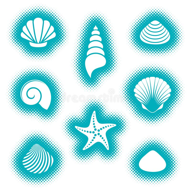 Vector overzeese shells en zeesterpictogrammen royalty-vrije illustratie