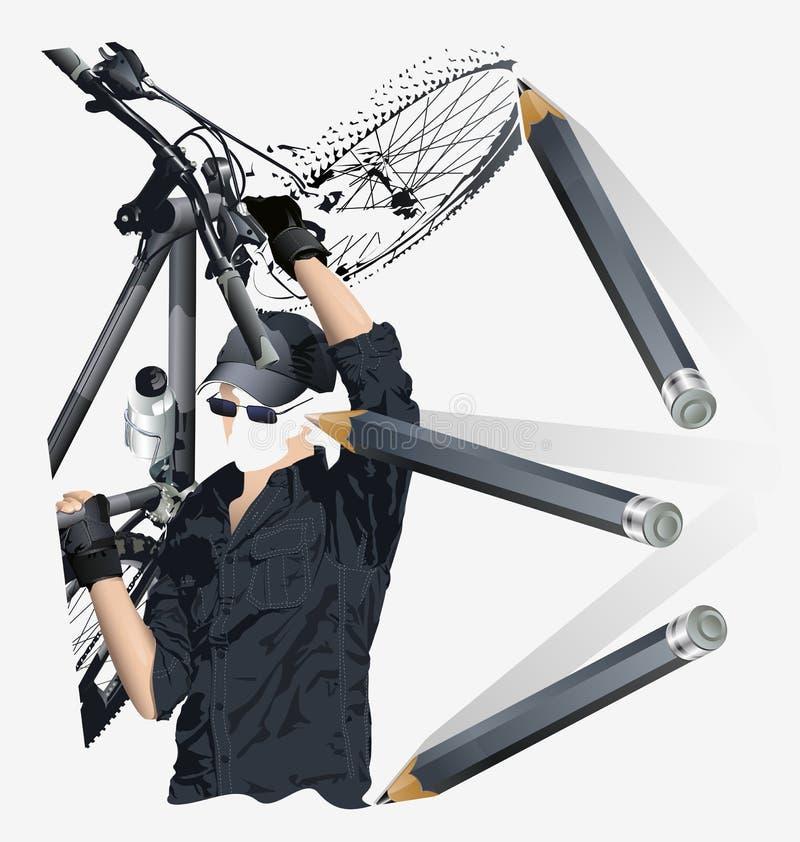 Vector overzicht van een fietser stock illustratie
