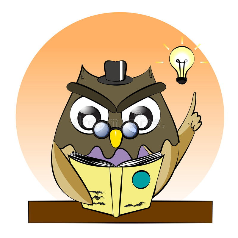 A vector of owl reading book,owl genius,clever owl read book stock illustration