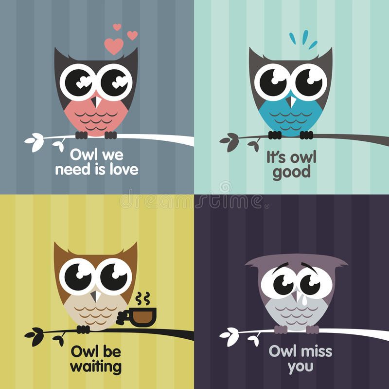 Vector owls. Set of vector owls with text quotes vector illustration