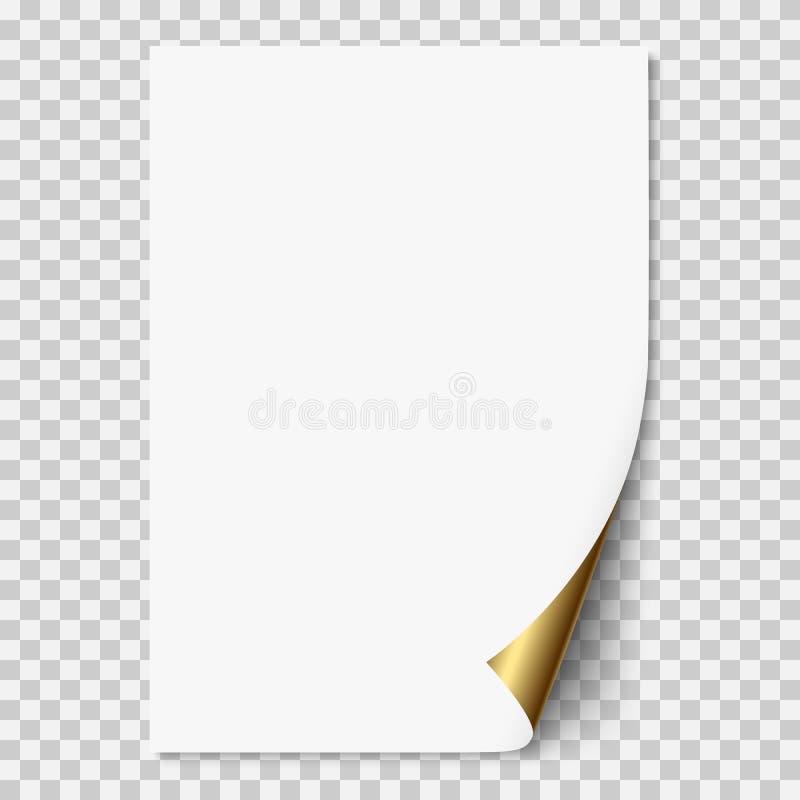 Vector a página de papel realística branca com canto dourado ilustração stock