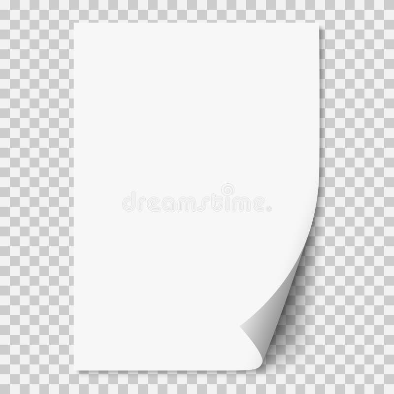 Vector a página de papel realística branca com canto ondulado ilustração stock