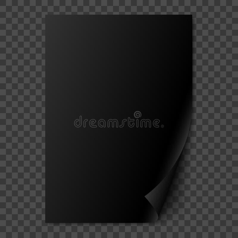 Vector a página de papel realística lustrosa preta com canto ondulado ilustração stock