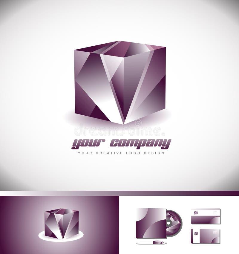 Vector púrpura del diseño del icono del logotipo del cubo 3d libre illustration