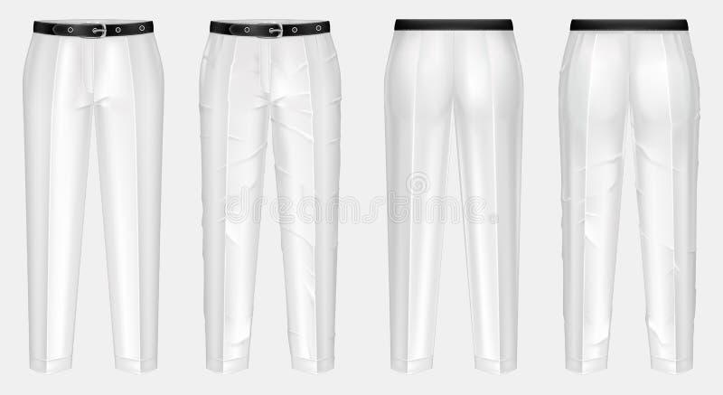 Vector Paare der gebügelten und zerknitterten weißen Hosen vektor abbildung