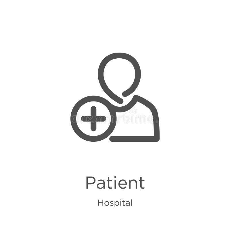 vector paciente del icono de la colección del hospital L?nea fina ejemplo paciente del vector del icono del esquema Esquema, líne ilustración del vector