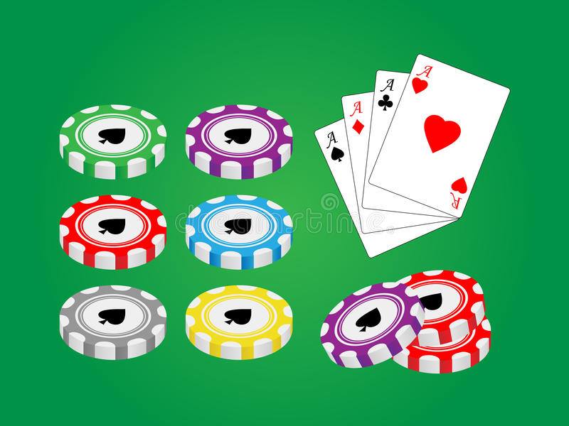 Casino chips. Vector pack with casino gambling elements vector illustration