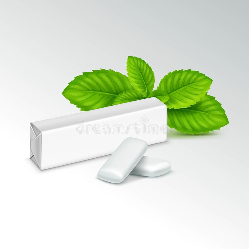 Vector Pack of Chewing Gum with Fresh Mint Leaves vector illustration