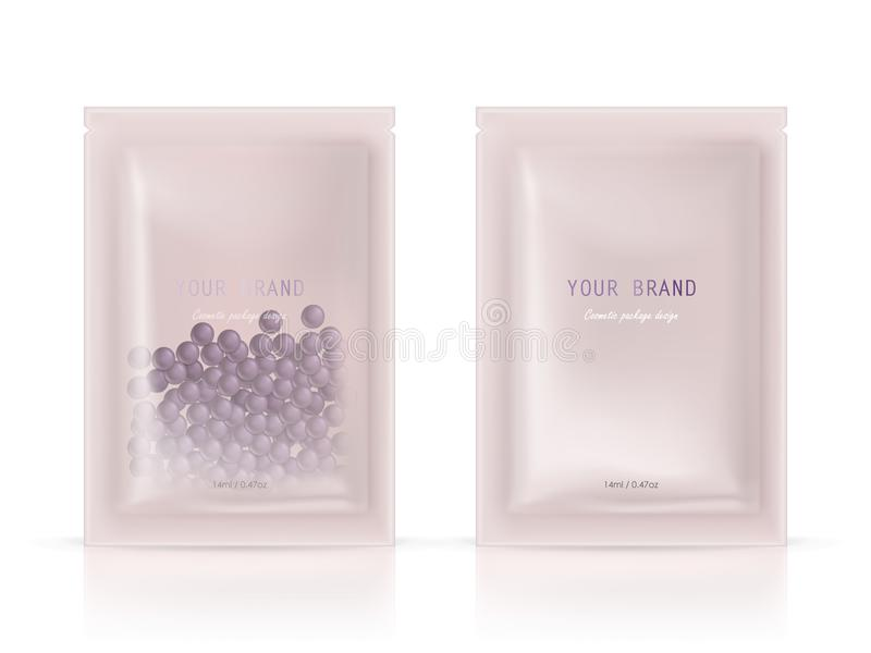 Vector package for cosmetic product with granules. Vector realistic blank package, disposable foil sachet for peeling facial mask with natural granules isolated stock illustration